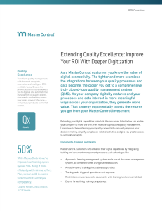 Extending Quality Excellence: Improve Your ROI With Deeper Digitization