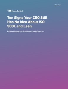 Ten Signs Your CEO Still Has No Idea About ISO 9001 and Lean