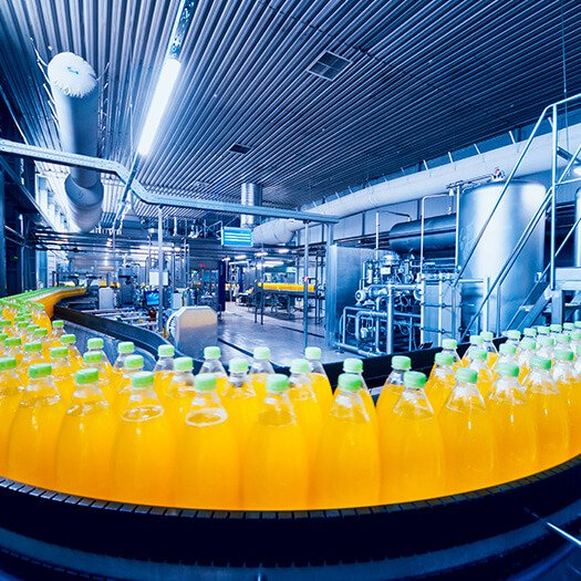 Beverages being produced on manufacturing line