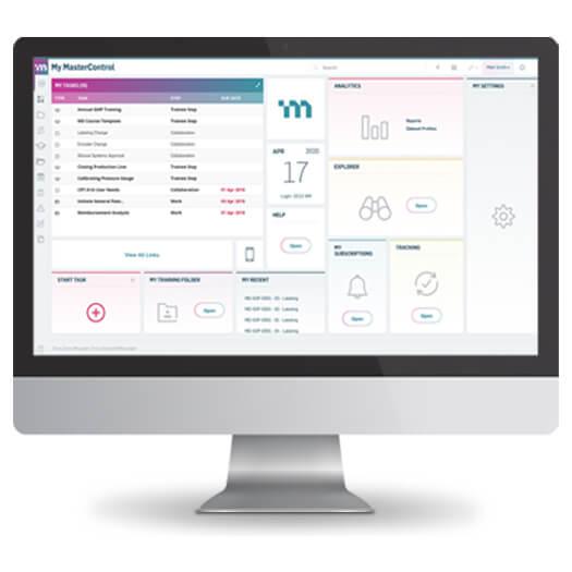 MasterControl software on desktop computer