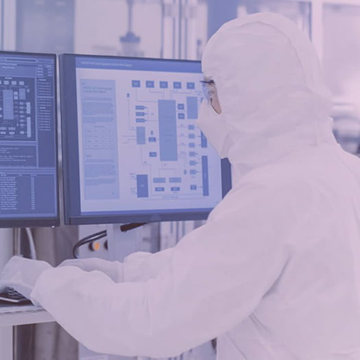 Pharma lab worker using computer