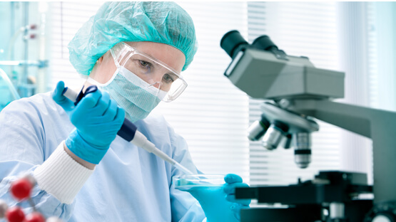 Lab worker in mask