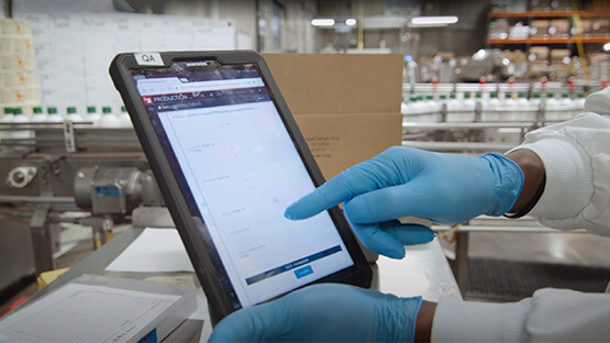 Manufacturing software on a tablet