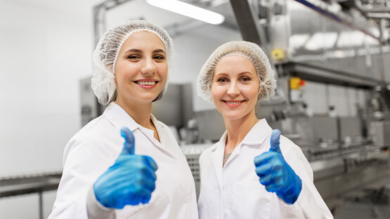 Thumbs up from manufacturing operations workers