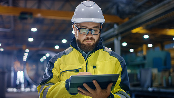 Manufacturing worker in warehouse
