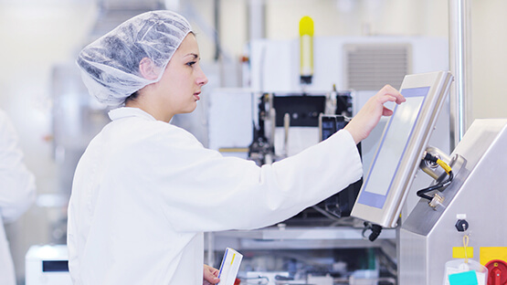 Lab worker using technology