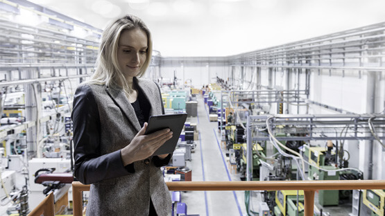 Manufacturing operations worker on shop floor
